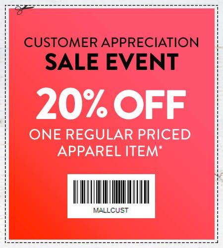20% Off One Regular Priced Apparel Item