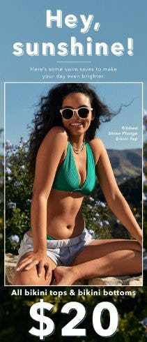 $20 All Bikini Tops & Bikini Bottoms from Aerie