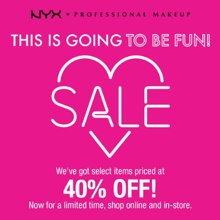 NYX Professional Makeup 40% off Sale! from Nyx Professional Makeup