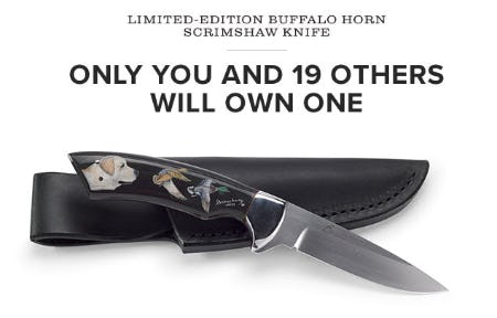 Limited Edition Buffalo Horn Scrimshaw Knife from Orvis
