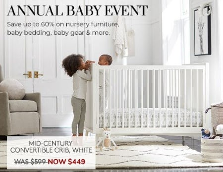 Up to 60% Off Nursery Furniture, Baby Bedding, Baby Gear & More from Pottery Barn Kids