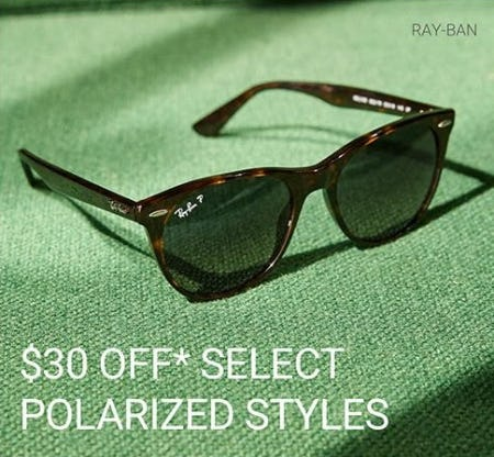 $30 Off Select Polarized Styles from Sunglass Hut