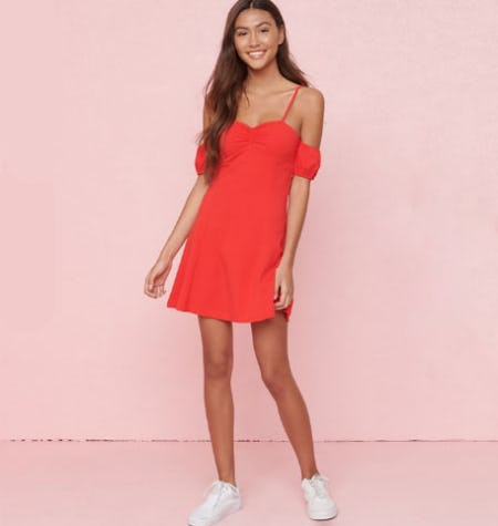 Off-Shoulder Bubble Sleeve Dress from Garage