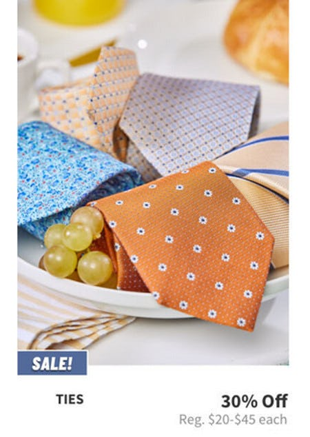 30% Off Ties from Jos. A. Bank