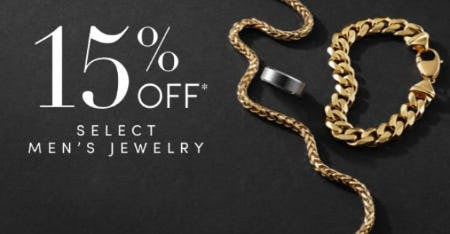 15% Off Select Men's Jewelry from Jared Galleria of Jewelry