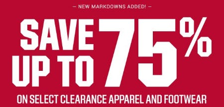 Save up to 75% on Select Clearance Apparel and Footwear