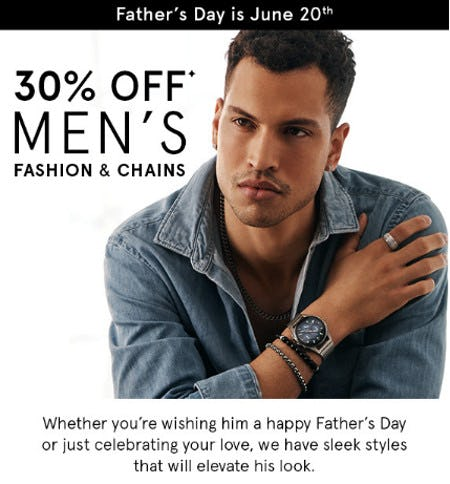 30% Off Men's Fashion & Chains from Kay Jewelers