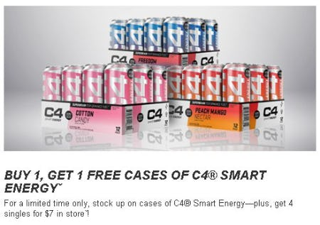 Buy 1, Get 1 Free Cases of C4 Smart Energy from GNC