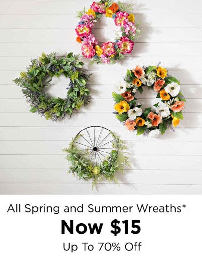 Up to 70% Off All Spring & Summer Wreaths from Kirkland's