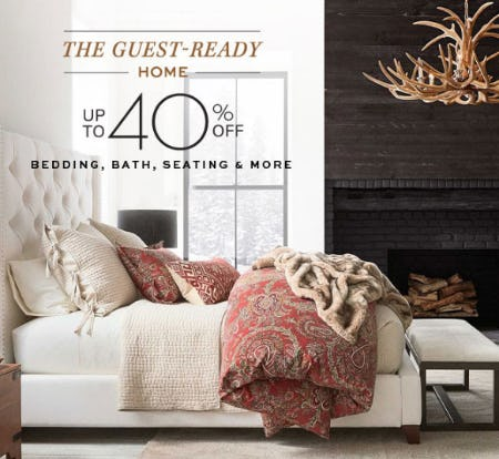 Up to 40% Off Bedding, Bath, Seating from Pottery Barn