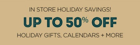 Up to 50% Off Holiday Gifts & More