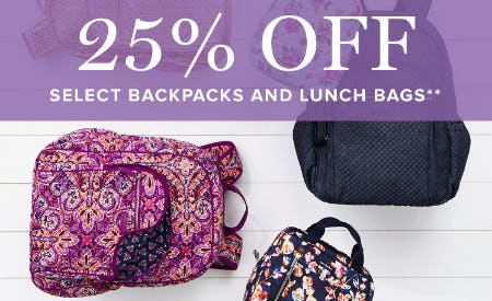 25% Off Select Backpacks & Lunch Bags from Vera Bradley