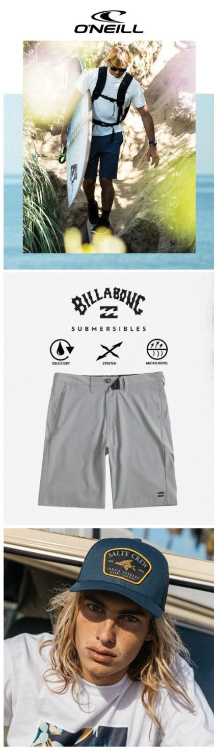 New Arrivals from Billabong, O'Neill & Salty Crew from Tillys