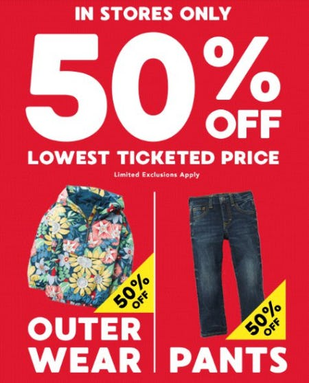 50% Off Outerwear & Pants from Gymboree