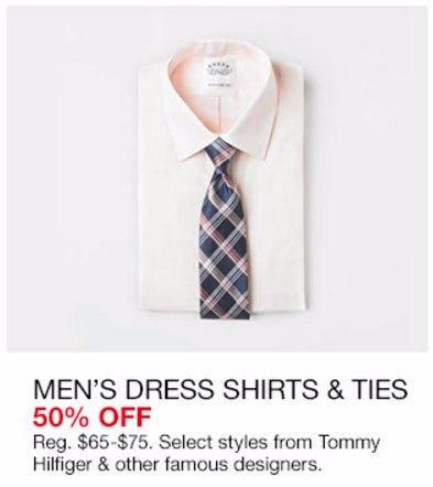 Men's Dress Shirts & Ties 50% Off