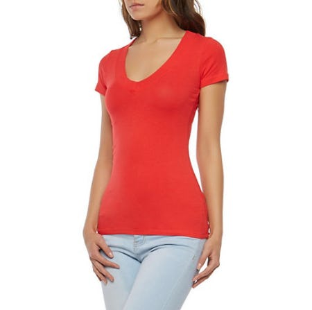 Solid V Neck T Shirt