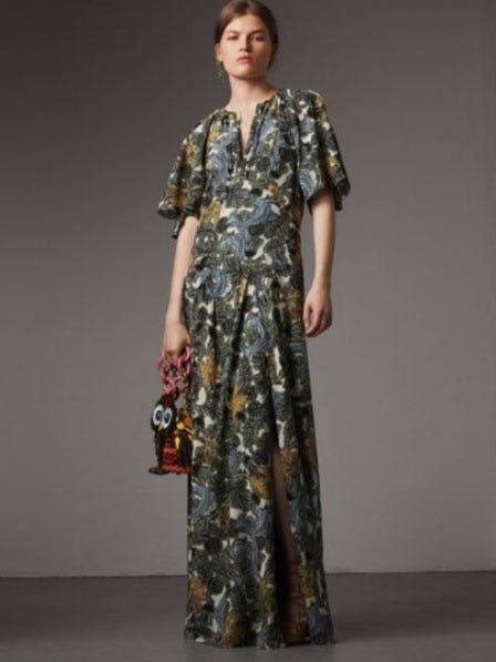 Beasts Print Deep V-neck Silk Longline Dress