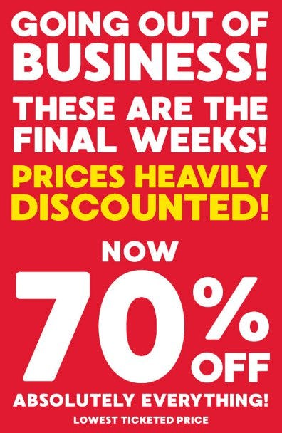 70% Off Absolutely Everything
