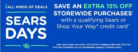 Save an Extra 15% Off Storewide Purchases from Sears