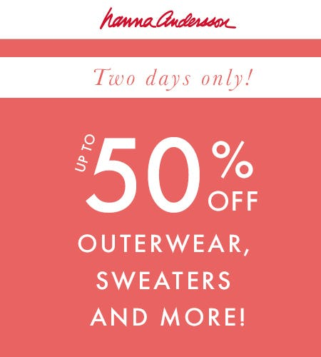 Up to 50% Off Outerwear from Hanna Andersson
