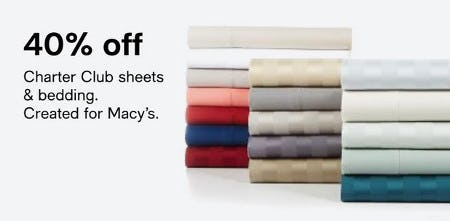 40% Off Charter Club Sheets & Bedding from macy's