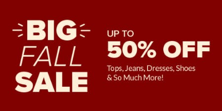 Up to 50% Off Big Fall Sale