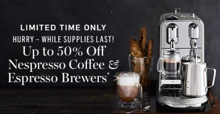 Up to 50% Off Nespresso Coffee & Espresso Brewers from Williams-Sonoma