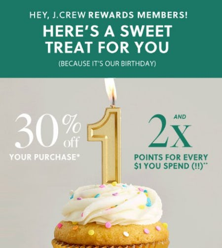30% Off Your Purchase from J.Crew