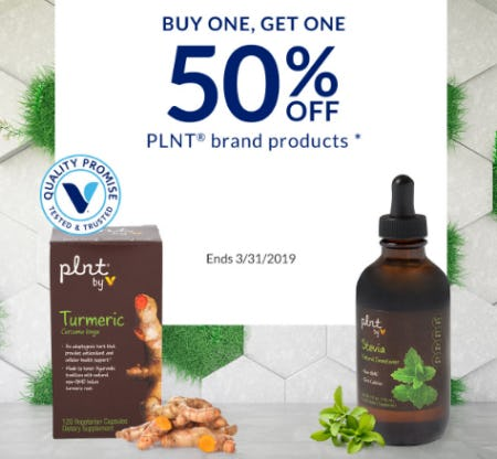 BOGO 50% Off PLNT Brand Products from The Vitamin Shoppe