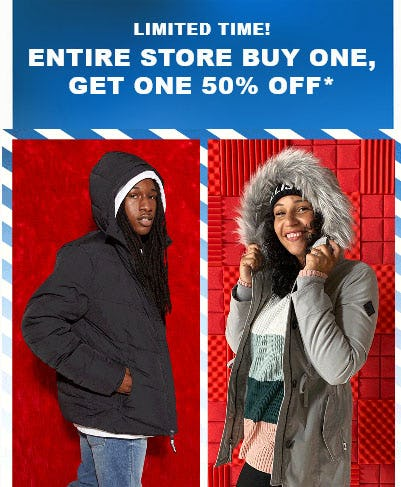 Entire Store Buy One, Get One 50% Off