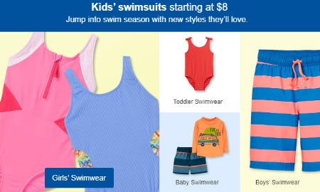 Kids' Swimsuits Starting at $8 from Target