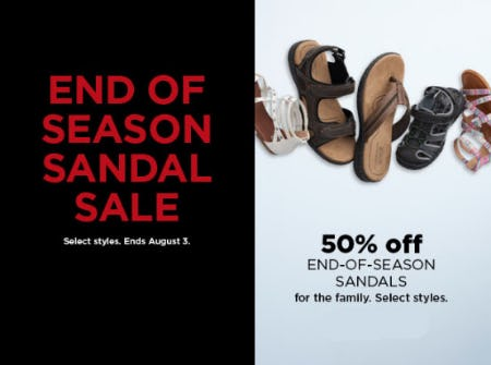 50% Off End-Of-Season Sandals from Kohl's