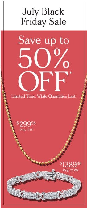 July Black Friday Sale up to 50% Off from Zales Jewelers