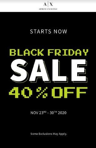 A|X Armani Exchange Black Friday Promotion from A|X Armani Exchange