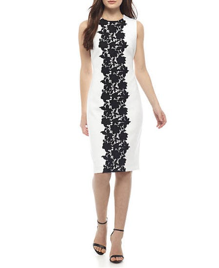 Calvin Klein Scuba Lace Front Dress from Belk