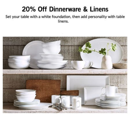 20% Off Dinnerware & Linens from Pottery Barn