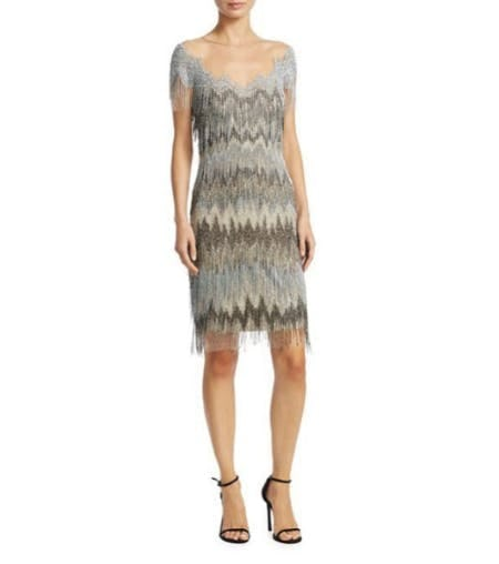 Pamella Roland Chevron Fringe Dress