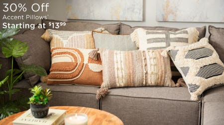30% Off Accent Pillows from Kirkland's Home