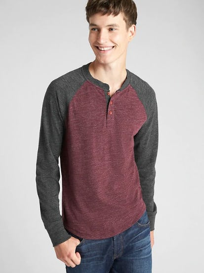 Long Sleeve Marled Henley from Gap