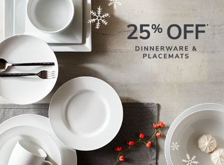 25% Off Dinnerware & Placemats from Pier 1 Imports