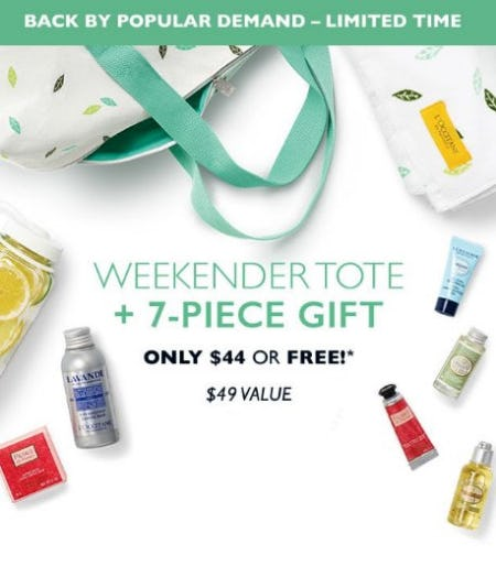 Weekender Tote + 7-Piece Gift Only $44 or Free from L'Occitane
