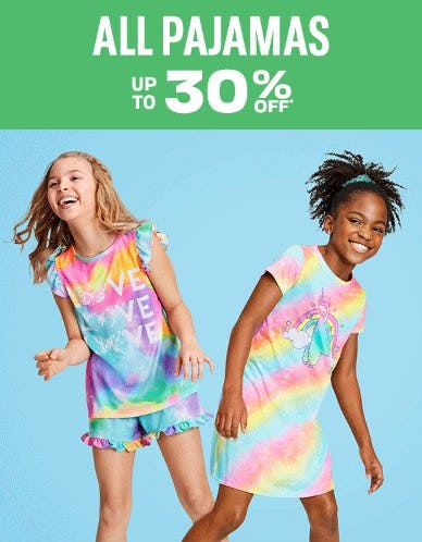All Pajamas up to 30% Off