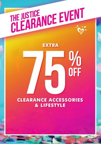 Extra 75% Off Clearance Event from Justice