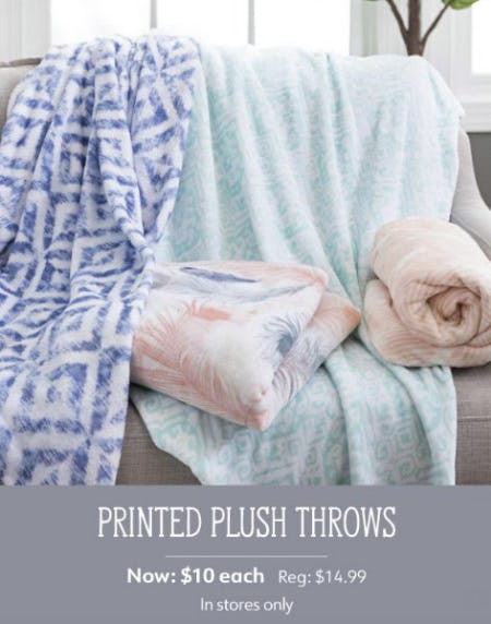 Printed Plush Throws Now $10 Each from Kirkland's