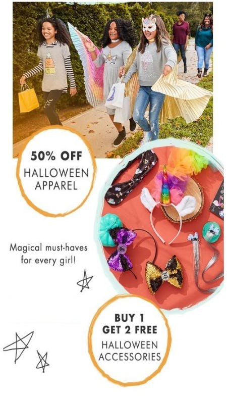 50% Off Halloween Apparel & More