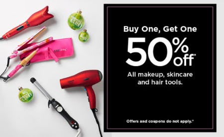 BOGO 50% Off All Makeup, Skincare & Hair Tools from Kohl's