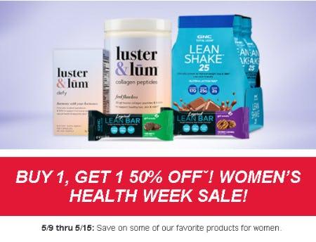 Women's Health Week Sale: Buy 1, Get 1 50% Off from GNC