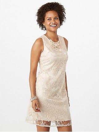 Sequin Overlay Sheath Dress from Dressbarn