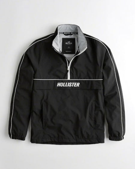 Stretch Mesh-Lined Half-Zip Windbreaker from Hollister Co.