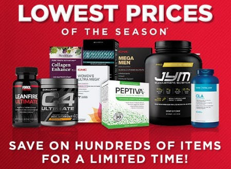 Lowest Prices of the Season from GNC